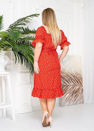 Платье в горошек красный цвет3 фото