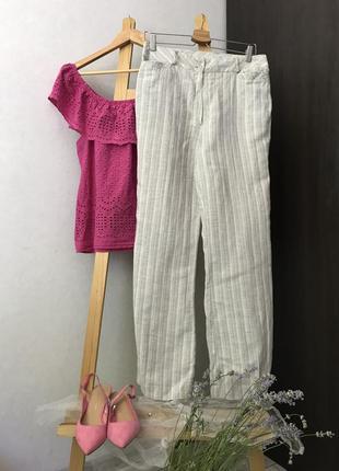 Прямі лляні штани в полоску