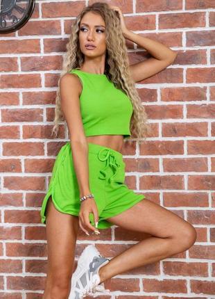 Женский костюм двойка шорты с карманами майка топ зеленый модный удобный красивый яркий летний