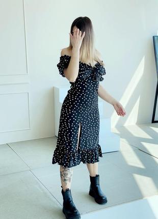 Платье горошек черный цвет