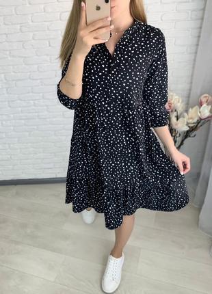 Платье летнее женское свободное батал легкое оверсайз белое черное синее