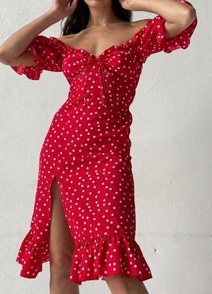 Платье горошек красный цвет
