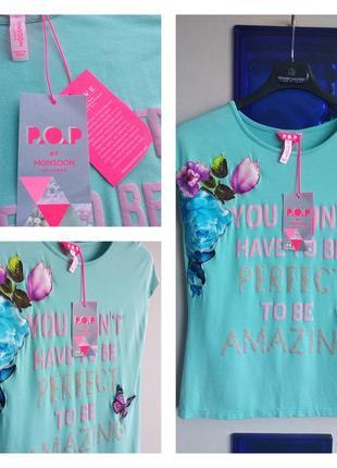 ❤️🦋🌼 красивая универсальная футболка в бабочках супер качество! на 11-12 лет monsoon ❤️🦋🌼