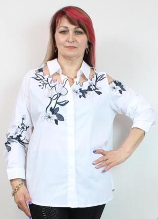 Блуза рубашка блузка турция турецкая хлопкова хлопковая коттоновая большого великого сатиновая туреччина 48 50 52 54 56 58 60 62 luizza