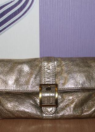 Золотой кожаный кошелек клатч индия