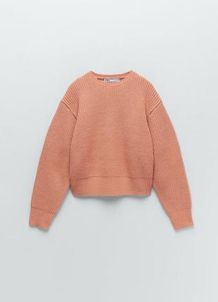 Джемпер zara персиковый свитер