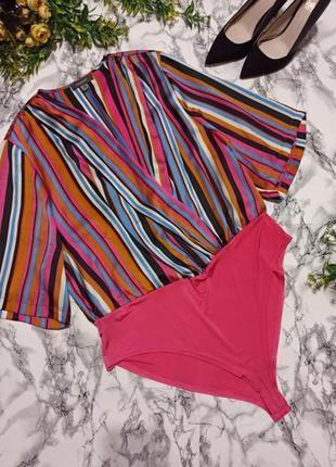 Большое боди в розовую разноцветную полоску блуза
