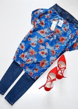 Marks & spencer новая блуза в цветочный принт,хлопок с шелком. с. 8.36