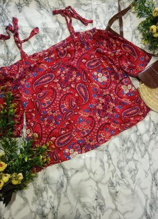 Блуза с открытыми плечами красная в узоры papaya большая