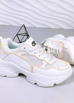Код 13904  кросівки  еко-шкіра + текстиль сітка  колір white + yellow