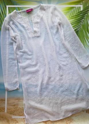 Белая туника для пляжа, пляжная туника накидка
