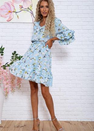 Женское платье с цветочным принтом голубое с поясом короткое на короткий рукав легкое свободное модное красивое