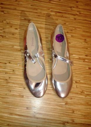 Серебро туфли /балетки 100%кожа не ношены/примерка магазина/изъян