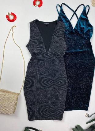 Блестящее фактурное платье topshop