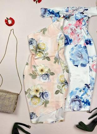 Персиковое платье на одно плече в цветы new look