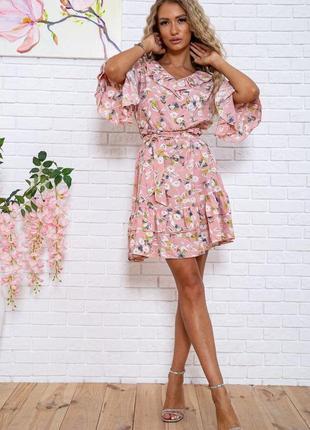 Платье с цветочным принтом розовое короткое с поясом на короткий рукав легкое свободное модное красивое летнее