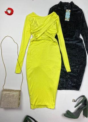 Желтое миди платье по фигуре river island, на талии вырез нагрудник перелёт , состав вискоза
