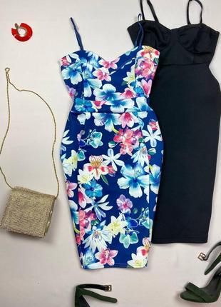 Синее миди платье в цветы