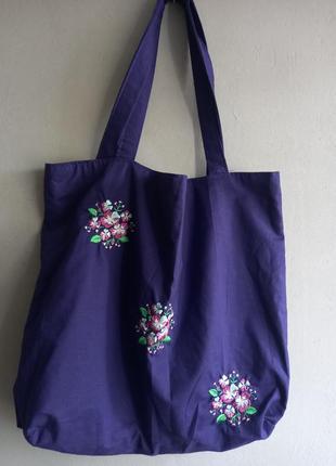 Эко сумка с вышивкой , ручная работа