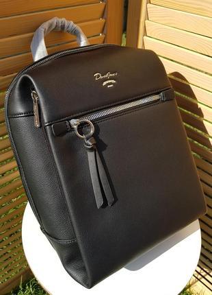 Городской большой черный женский рюкзак david jones #5748