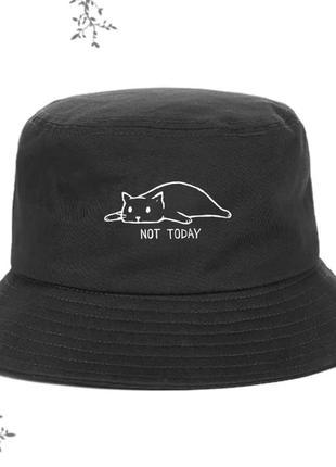 Панама хлопковая черная с принтом кот not today