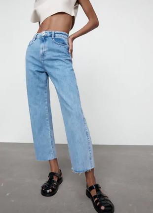 Прямые джинсы высокая посадка от zara