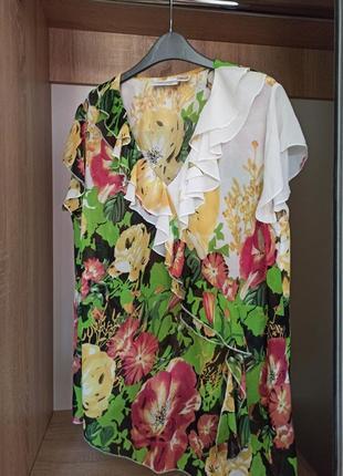 Большая  блуза в цветочный принт