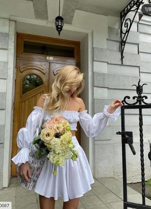 Женский летний костюм топ с открытыми плечами и юбка