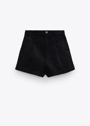 Чёрные шорты котон от zara