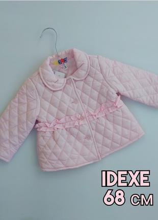 Розовая стеганая демисезонная куртка idexe (италия), р-р 68 см, 6 месяцев