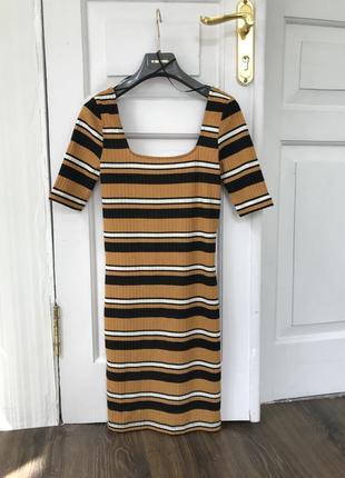 Кроп база платье тренд полоска нюд