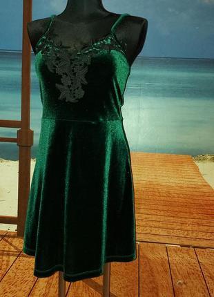 Платье на бретельках сарафан велюр и гипюр качество! 42-44!