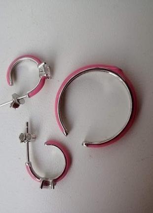 Серебряное кольцо с розовой эмалью и фианитом4 фото
