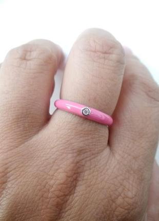Серебряное кольцо с розовой эмалью и фианитом3 фото
