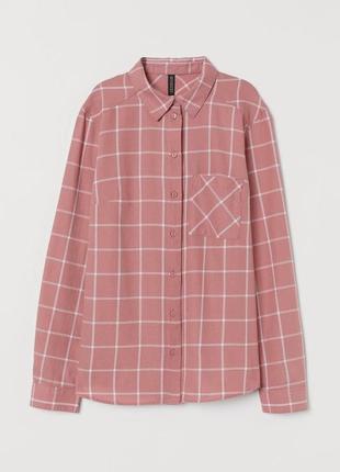 Рубашка в клетку розовая от h&m / карта а сорочка рожева