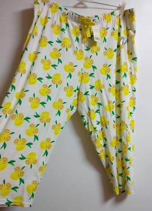 Котоновые штаны для дома или сна принт лимоны 56-58 размера сток