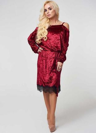 📢скидки🔥невероятно красивое бархатное платье с кружевом luxlook