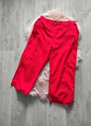 Льняные красные натуральные бриджи из льна лен и вискозы