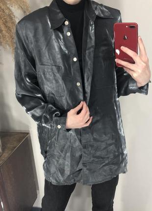 Рубашка перламутровая серая, винтаж