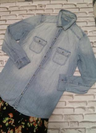 Удлинённая джинсовая рубашка s