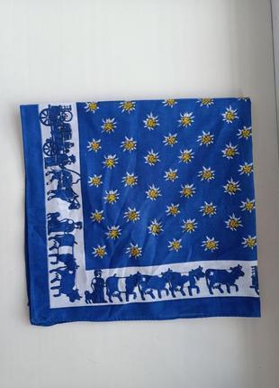Винтажная бандана маленький хлопковый платок эдельвейсы