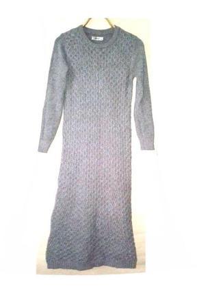 Платье  длинное теплое с длинными рукавами вязанное бренд m&v
