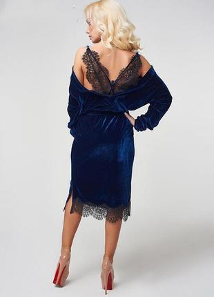 📢скидки🔥‼невероятно красивое бархатное чёрное платье с кружевом luxlook