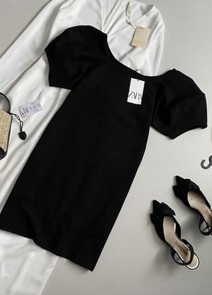 Новое трендовое базовое платье с актуальными объемными рукавами буфами zara