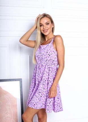 Платье летнее женское короткое мини цветочное легкое сарафан на бретелях