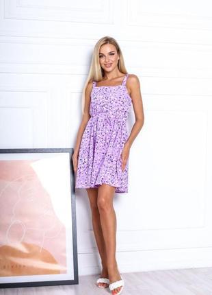 Платье летнее женское короткое мини цветочное легкое сарафан на бретелях7 фото