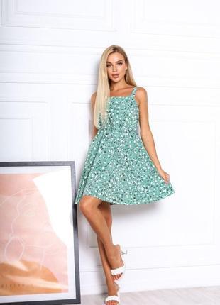 Платье летнее женское короткое мини цветочное легкое сарафан на бретелях5 фото