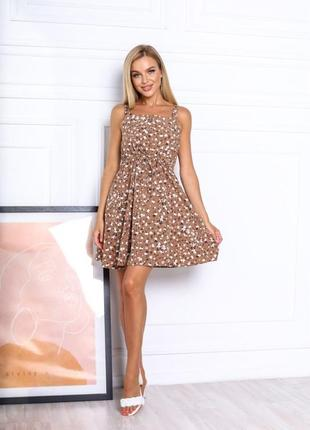 Платье летнее женское короткое мини цветочное легкое сарафан на бретелях3 фото