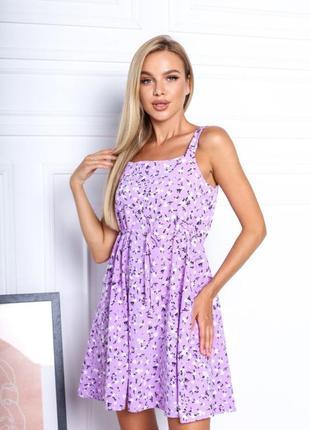 Платье летнее женское короткое мини цветочное легкое сарафан на бретелях9 фото