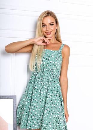 Платье летнее женское короткое мини цветочное легкое сарафан на бретелях4 фото